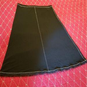 Black skirt with lace fringe and cream threading